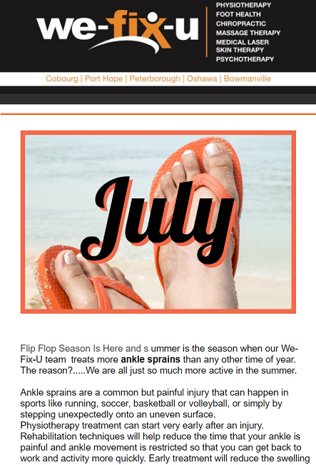 July Newsletter – A Healthy Active Lifestyle Starts Now