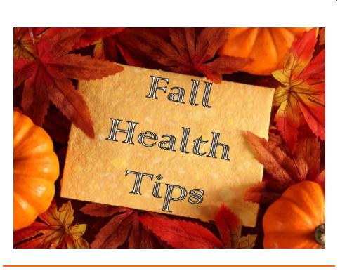 Fall Health Tips paper, fall leaves, pumpkin
